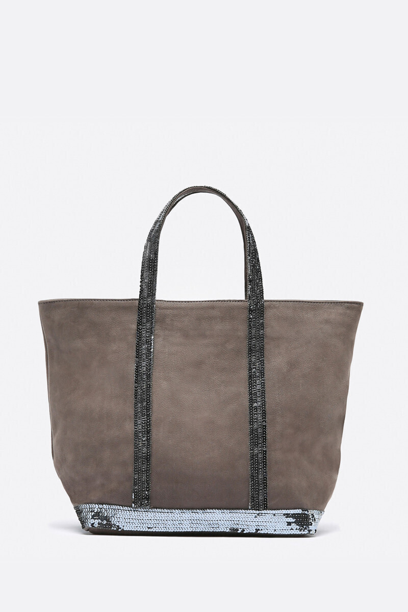 Medium Nubuck Leather and Sequins Cabas Tote Bag Black/NIGHT/STEEL/COGNAC par Vanessa Bruno