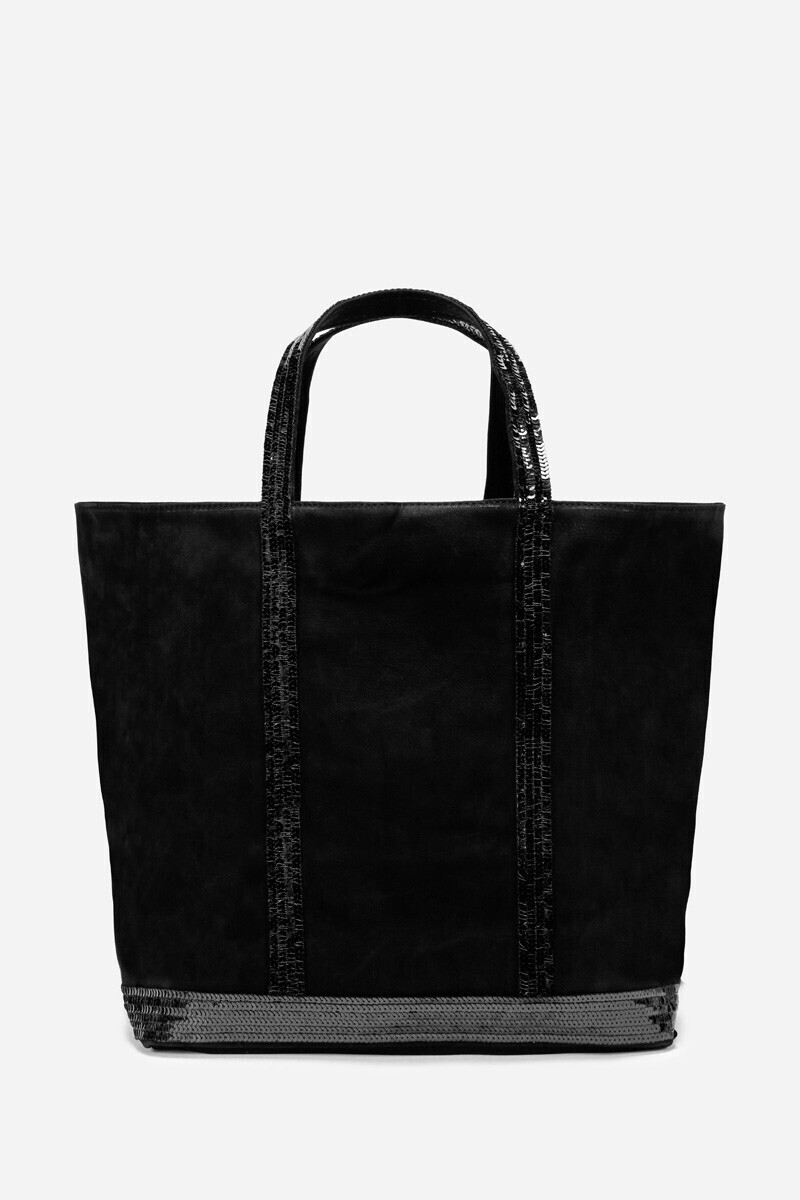 Medium + Nubuck Leather And Sequins Cabas Tote Bag Black/NIGHT/STEEL/COGNAC par Vanessa Bruno