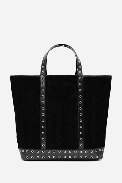 Medium + leather Cabas bag with eyelets