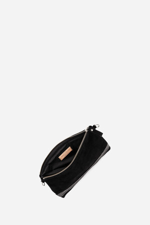 Velvet leather and sequins clutch bag