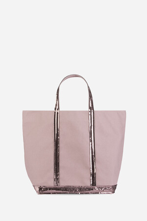 Medium + Denim Canvas And Sequins Cabas Tote Bag
