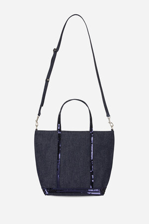 Small Denim and Sequins Cabas Tote Bag with Detachable Strap