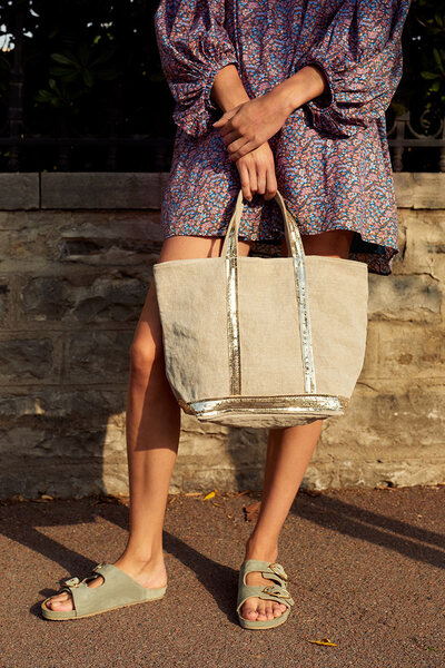Medium Linen and Sequins Cabas Tote Bag