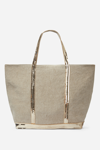 Large linen and sequins Cabas bag