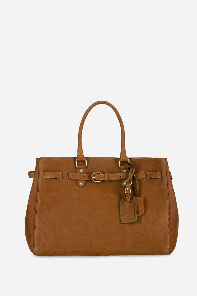 Nubuck Leather Lune Cabas Tote Bag Black/NIGHT/COGNAC par Vanessa Bruno