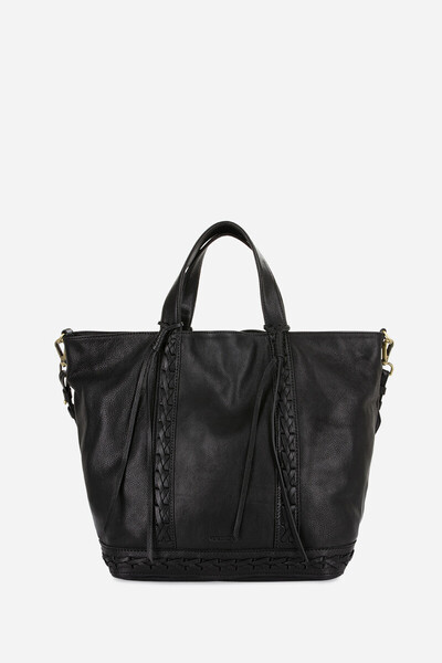 Braided Calfskin Leather Cabas Tote Bag