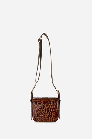 Small Calf Leather Gemma Flap Bag with a crocodile effect