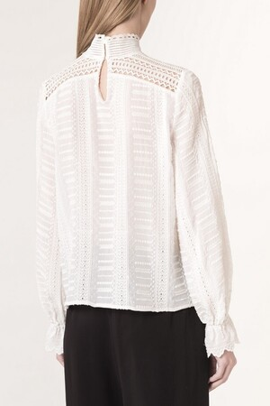 Crepe and embroidered pearls Jocea blouse