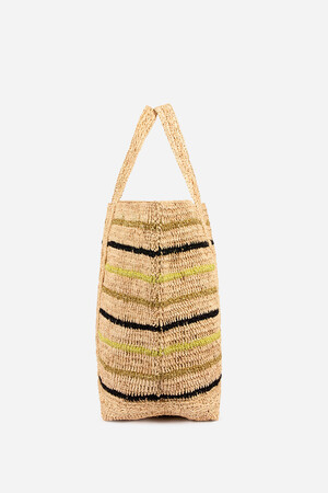 Large Raffia and Lurex Cabas Tote Bag