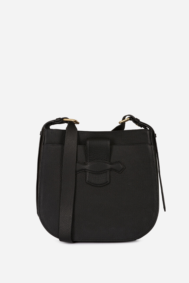 Grained Calfskin Leather Gemma Flap Bag Black par Vanessa Bruno