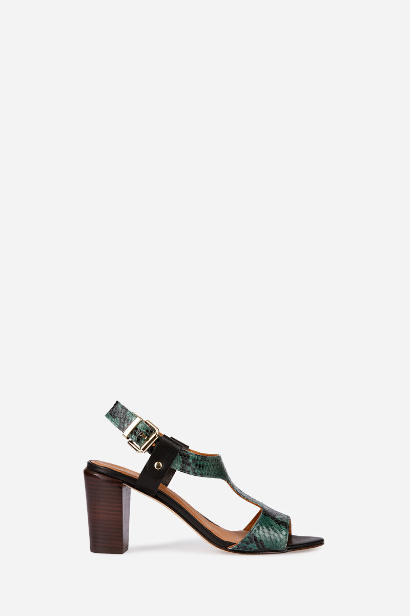 Calf leather heeled sandals with python effect MULTICO/FOREST par Vanessa Bruno
