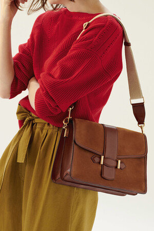 Bi-material Calfskin Leather Gemma Bag