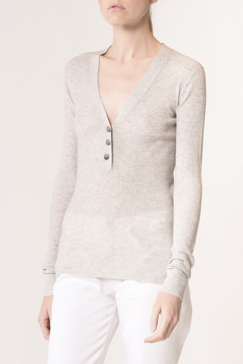 Wool and cashmere Ludmila Sweater Tweed grey par Vanessa Bruno
