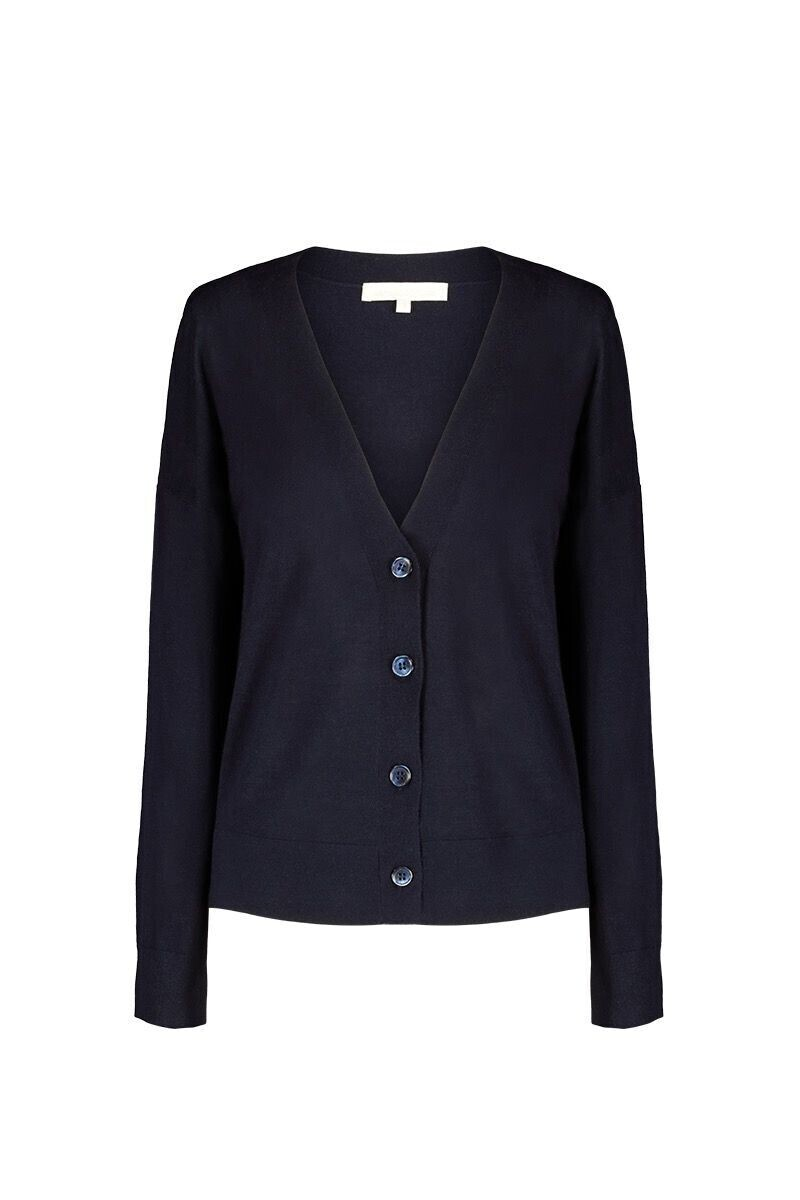 Wool, silk and cashmere Laeticia Cardigan Navy Blue par Vanessa Bruno
