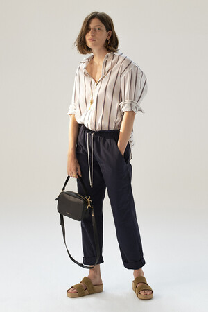 Cotton veil and striped linen Heliane Shirt