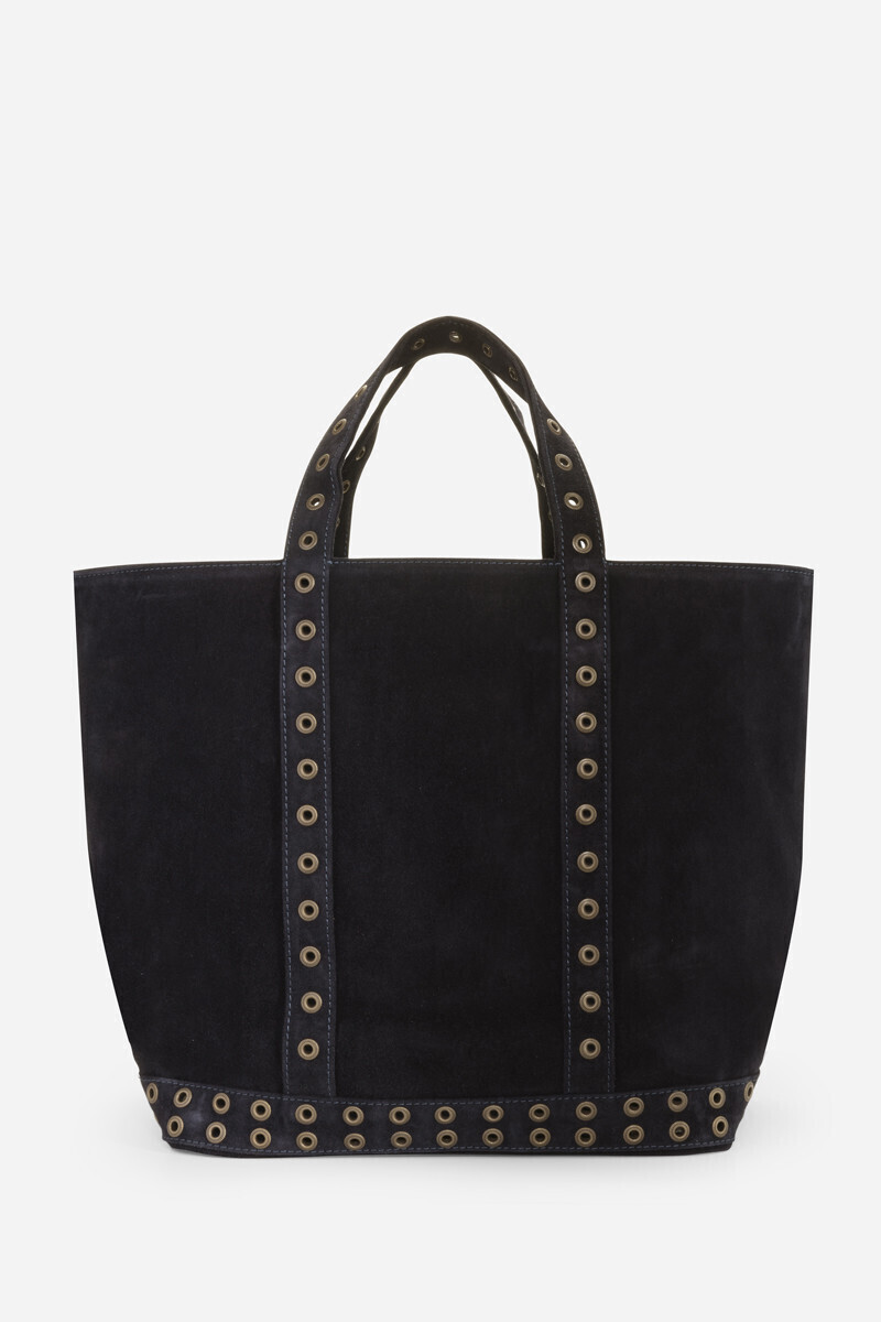 Medium + velvet leather Cabas bag with eyelets