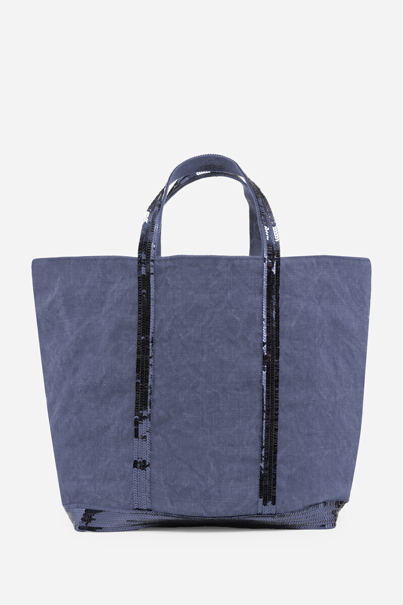 Medium + linen and sequins Cabas bag