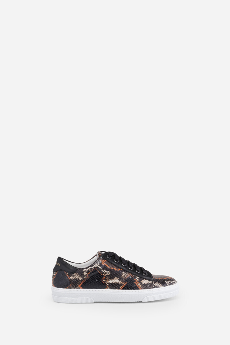 Calfskin leather sneakers with python effect leather