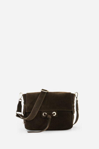 Large suede and calfskin Charly bag with eyelets
