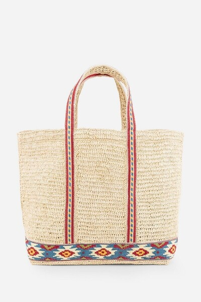 Medium + Raffia Cabas Bag with embroidered band.