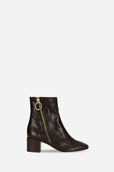 Zipped Goatskin leather boots with a python effect