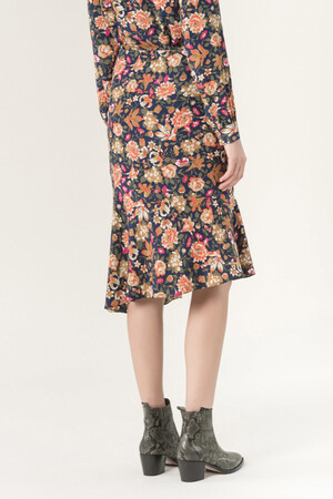 SIlk Hernin skirt printed Denmans Flowers