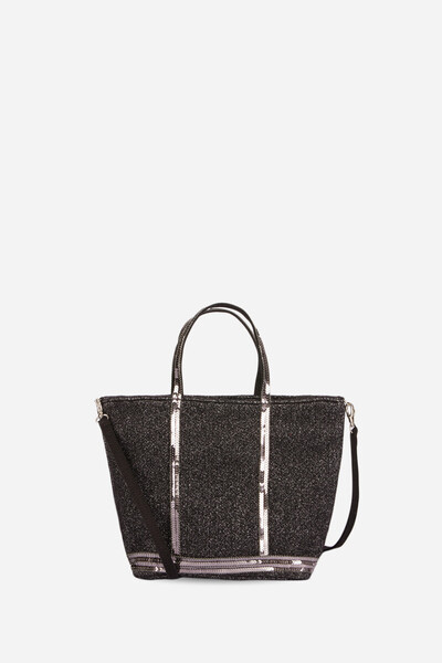 Small Tweed And Sequins Cabas Tote Bag With Zip and Detachable Strap